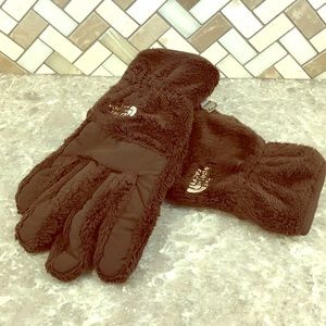 Brown furry North Face gloves